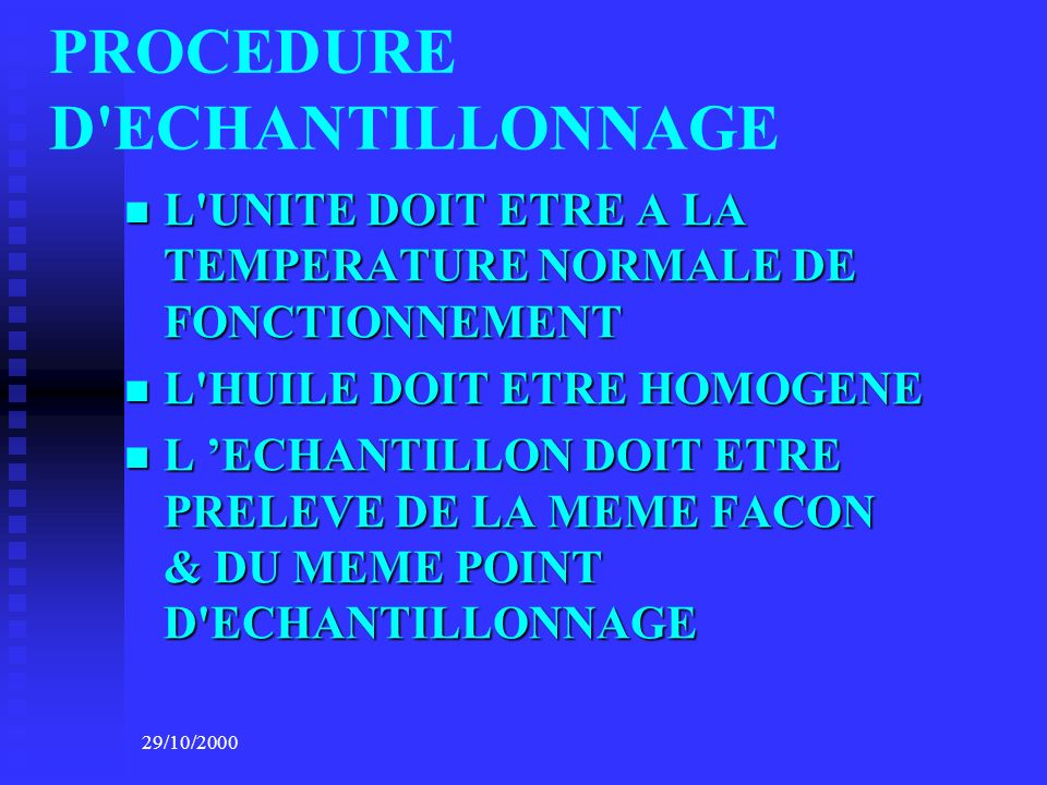 PROCEDURE D ECHANTILLONNAGE