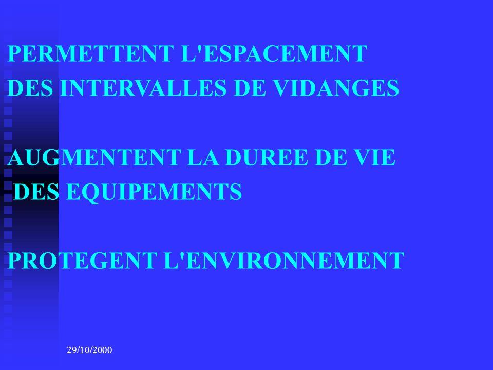 PERMETTENT L ESPACEMENT DES INTERVALLES DE VIDANGES