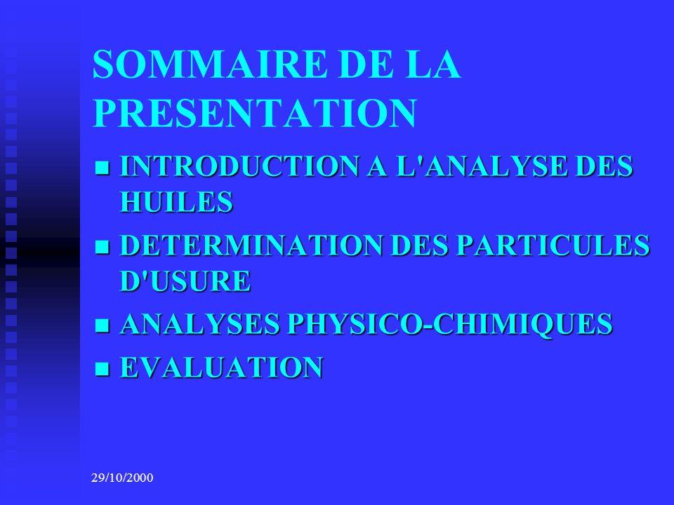 SOMMAIRE DE LA PRESENTATION