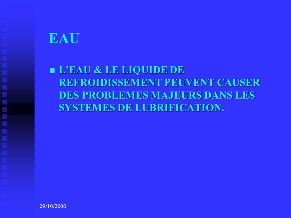 EAU L EAU & LE LIQUIDE DE REFROIDISSEMENT PEUVENT CAUSER DES PROBLEMES MAJEURS DANS LES SYSTEMES DE LUBRIFICATION.