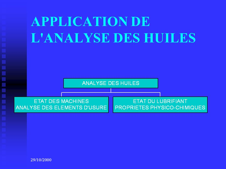 APPLICATION DE L ANALYSE DES HUILES