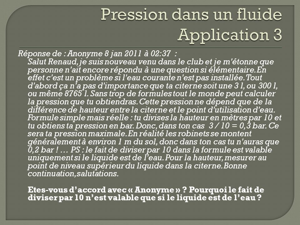 Pression dans un fluide Application 3