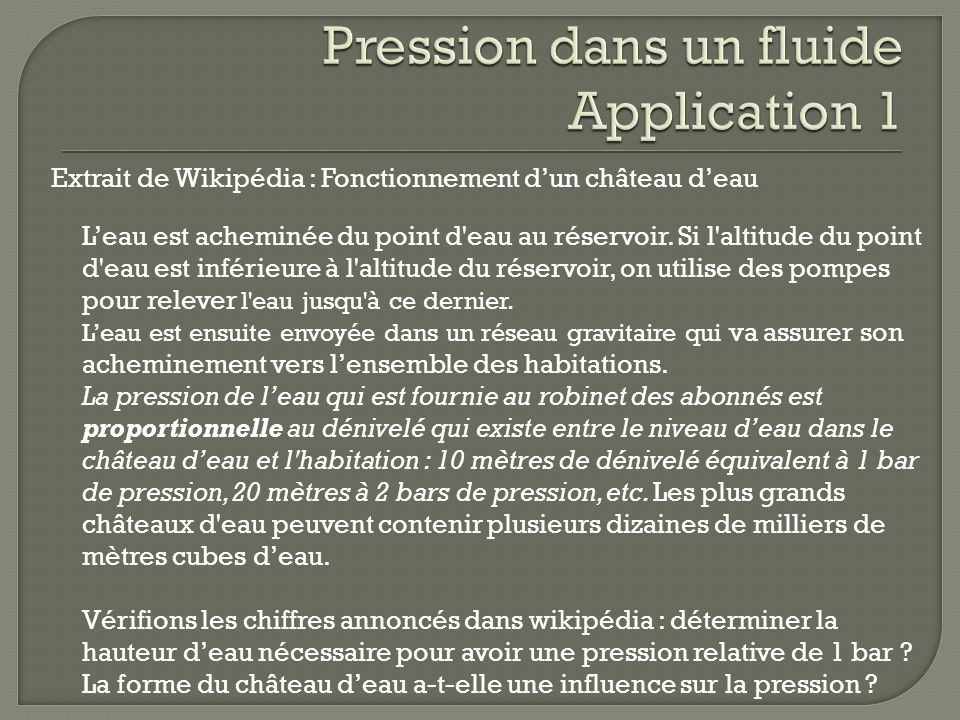 Pression dans un fluide Application 1