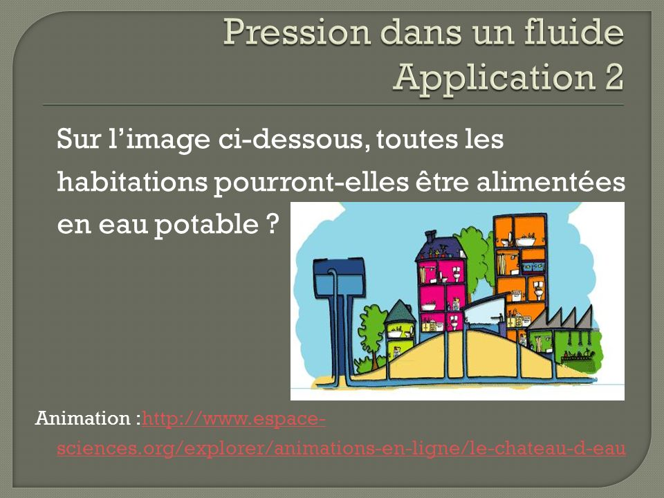 Pression dans un fluide Application 2