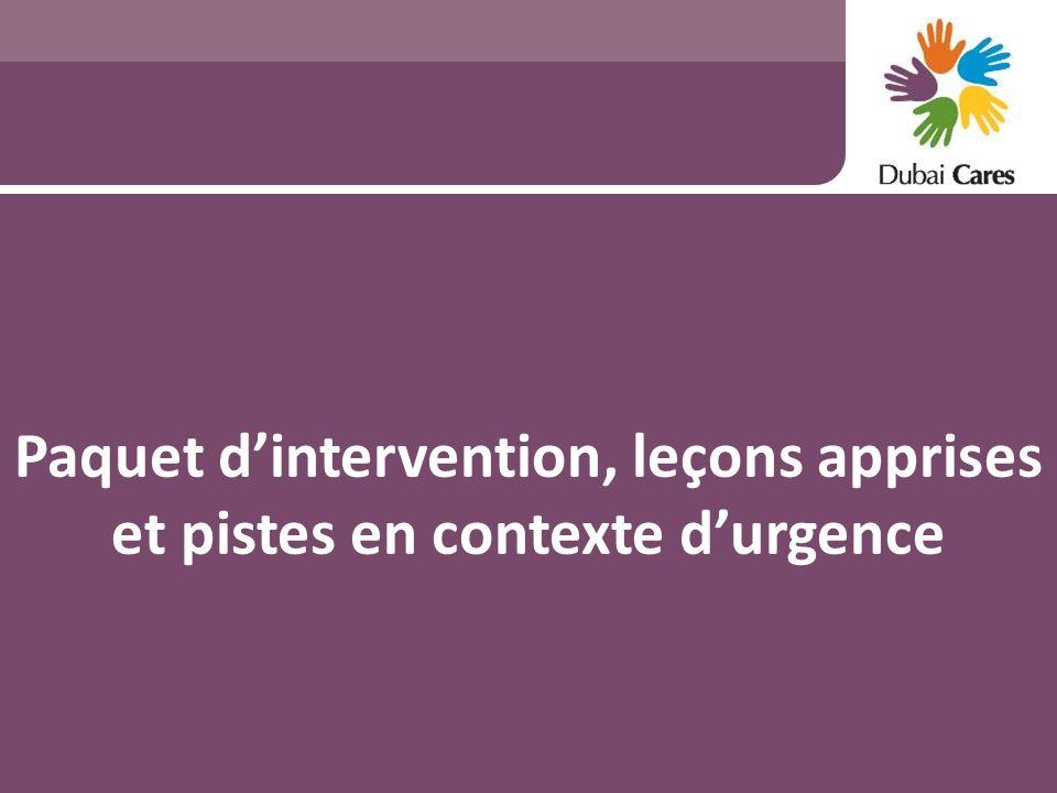 Paquet d'intervention, leçons apprises et pistes en contexte d'urgence