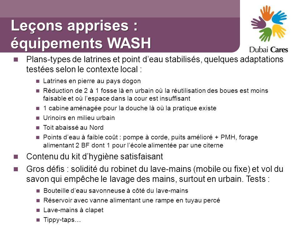 Leçons apprises : équipements WASH