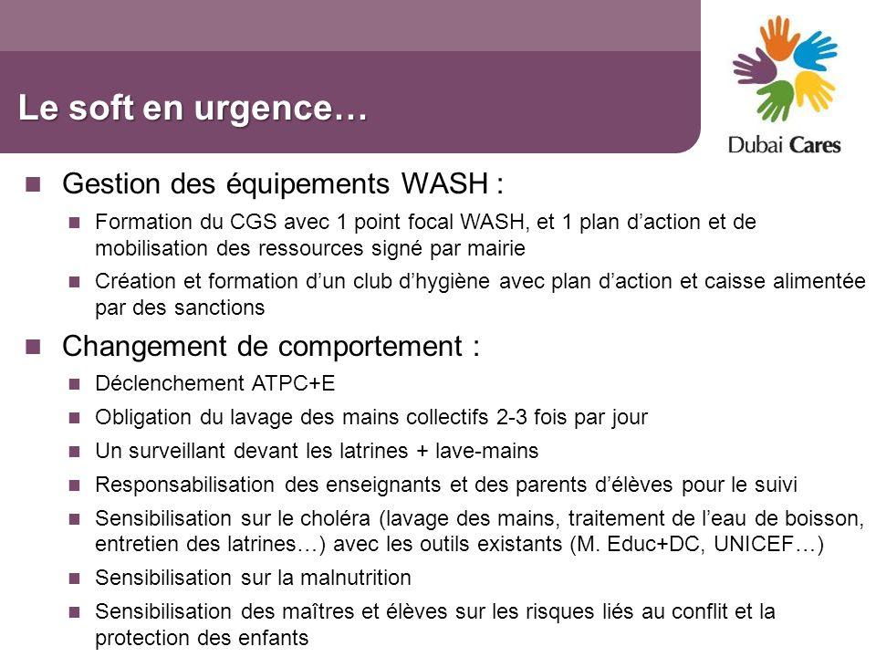 Le soft en urgence… Gestion des équipements WASH :