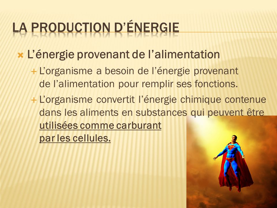 La production d'énergie