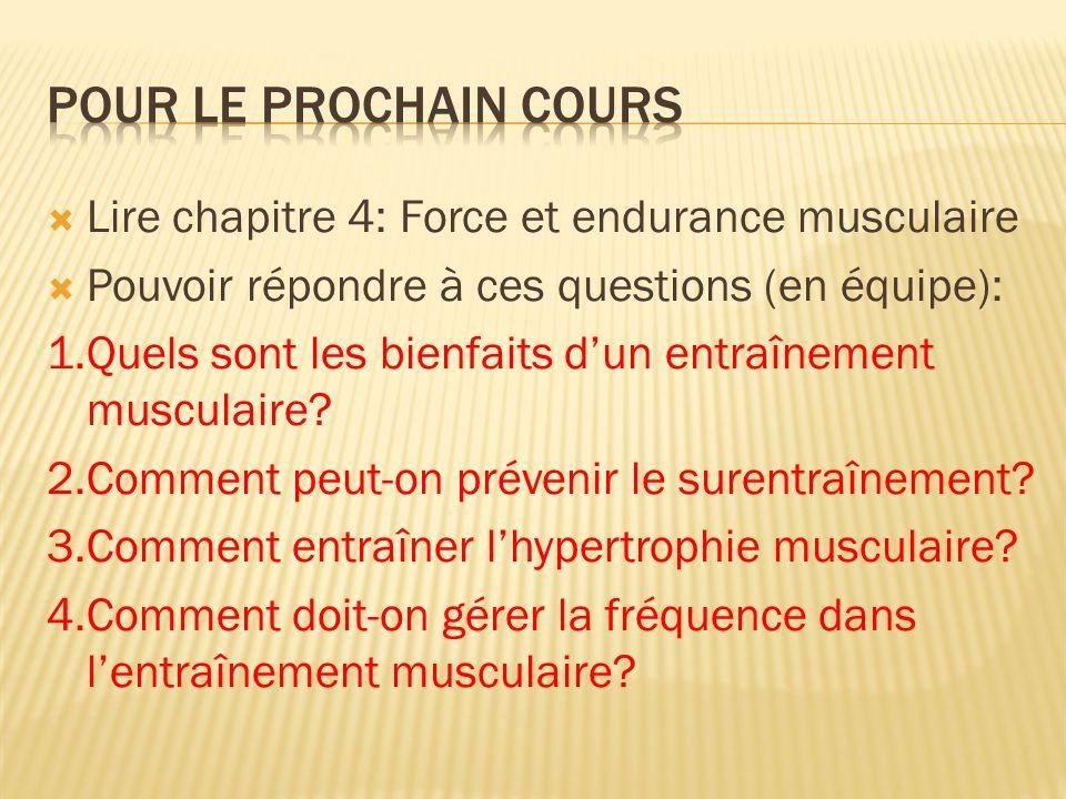 Pour le prochain cours Lire chapitre 4: Force et endurance musculaire
