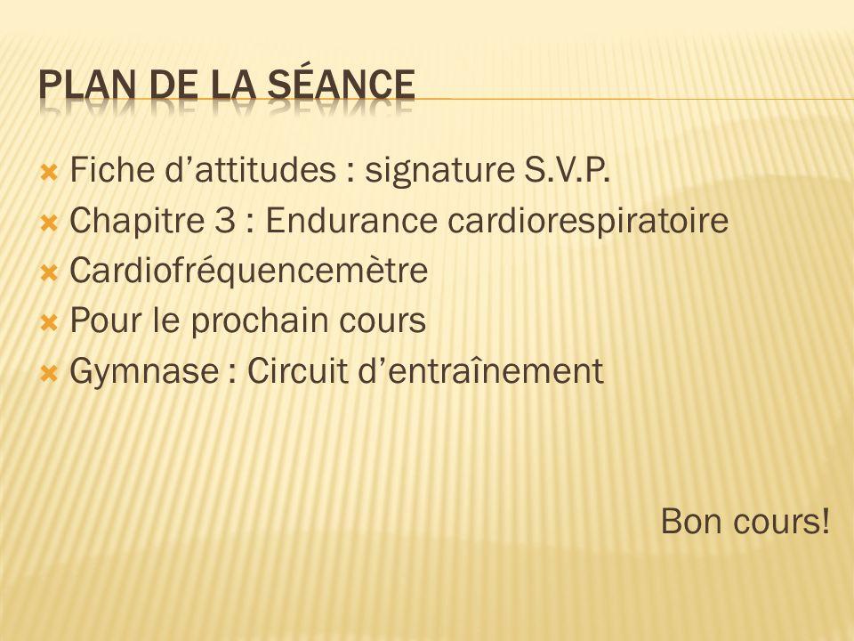 Plan de la séance Fiche d'attitudes : signature S.V.P.