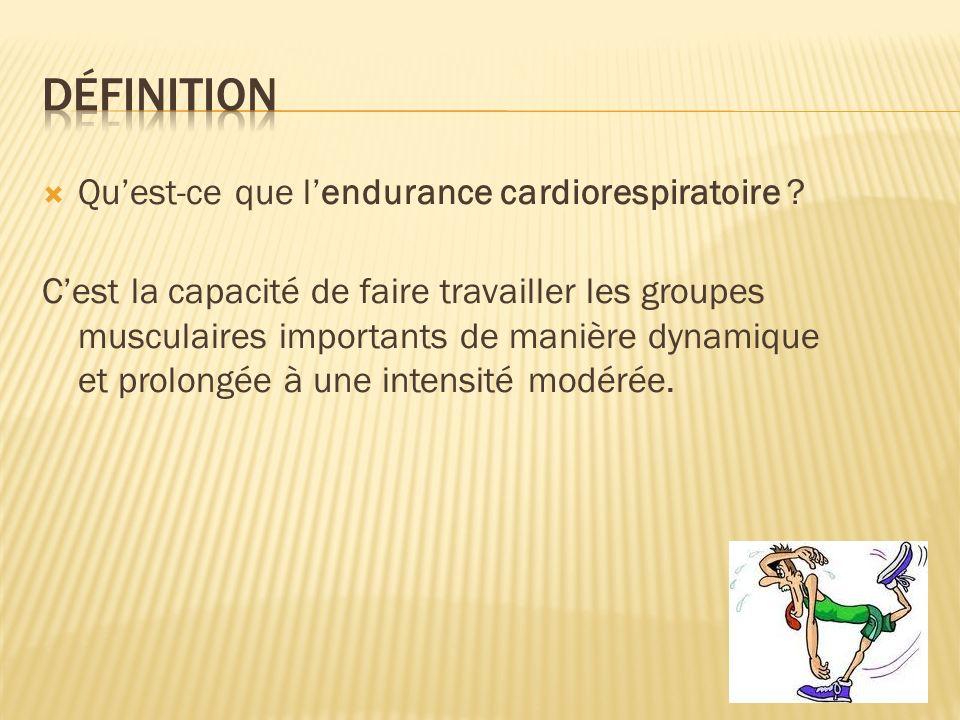 Définition Qu'est-ce que l'endurance cardiorespiratoire
