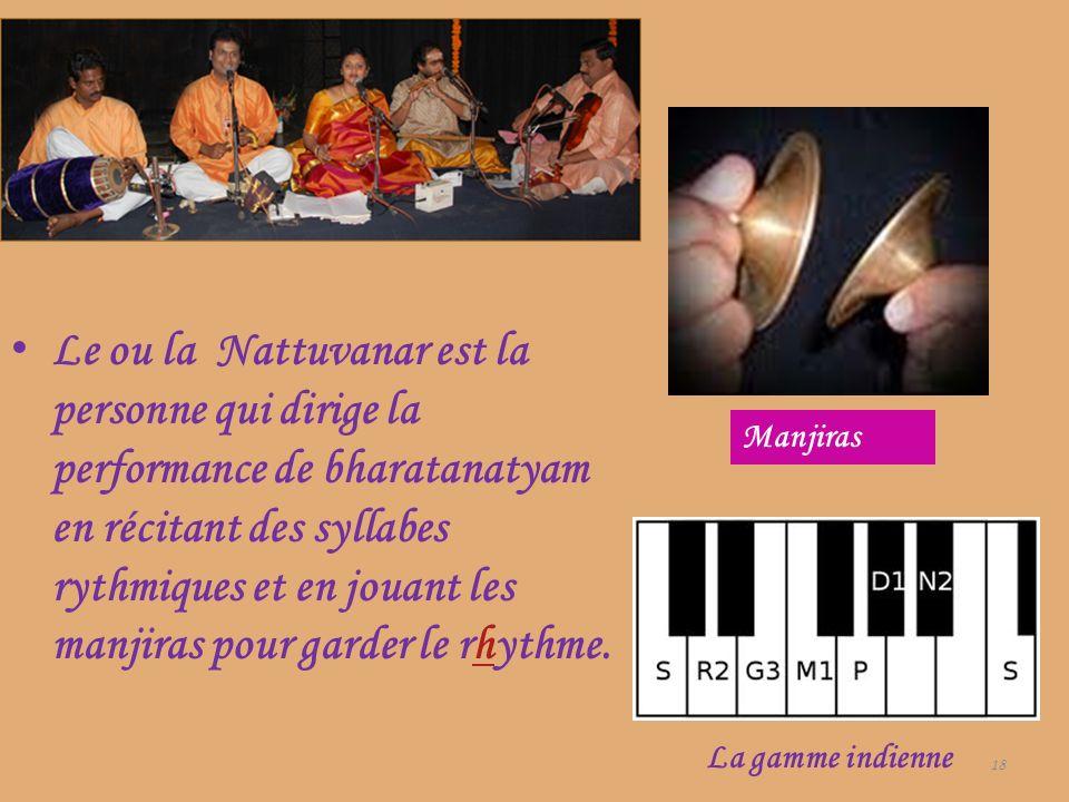 Le ou la Nattuvanar est la personne qui dirige la performance de bharatanatyam en récitant des syllabes rythmiques et en jouant les manjiras pour garder le rhythme.