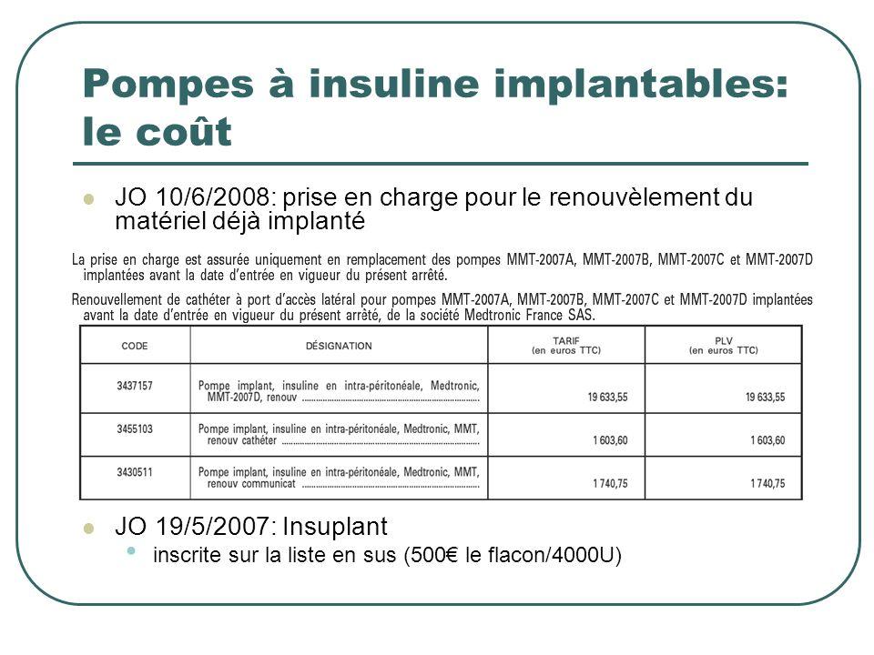 Pompes à insuline implantables: le coût