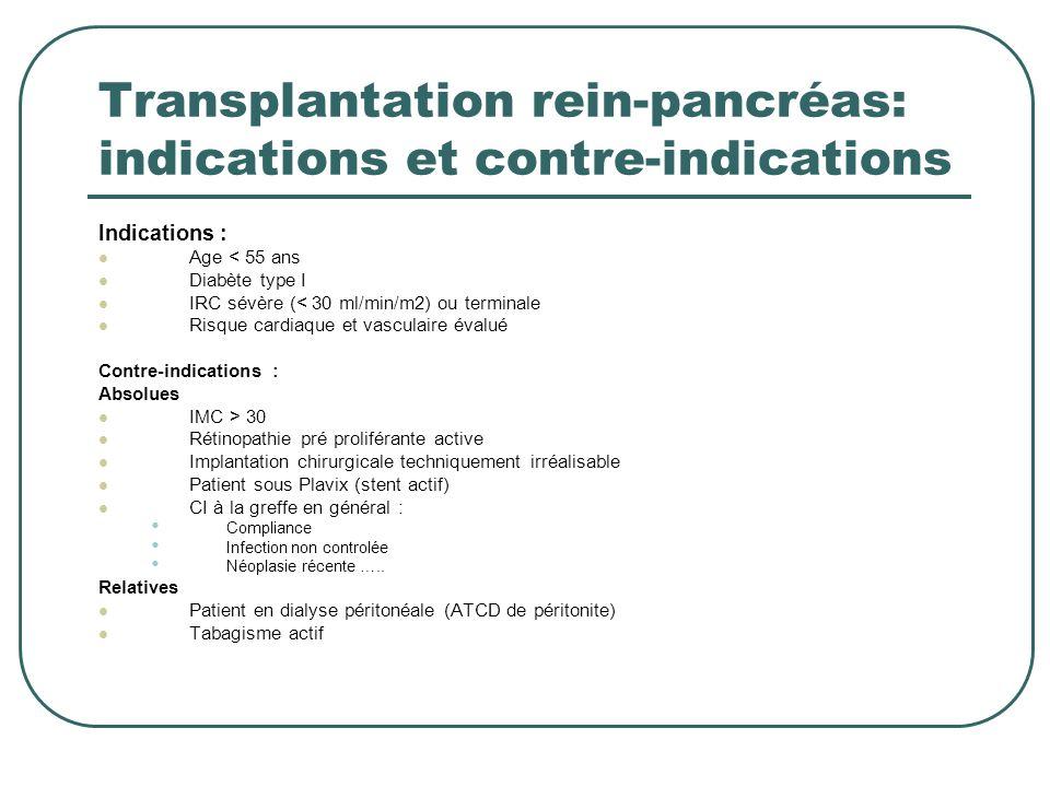 Transplantation rein-pancréas: indications et contre-indications