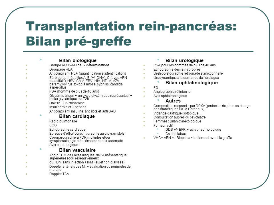 Transplantation rein-pancréas: Bilan pré-greffe