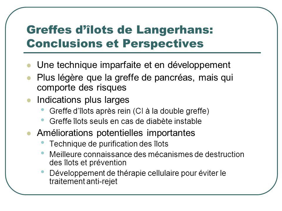 Greffes d'îlots de Langerhans: Conclusions et Perspectives