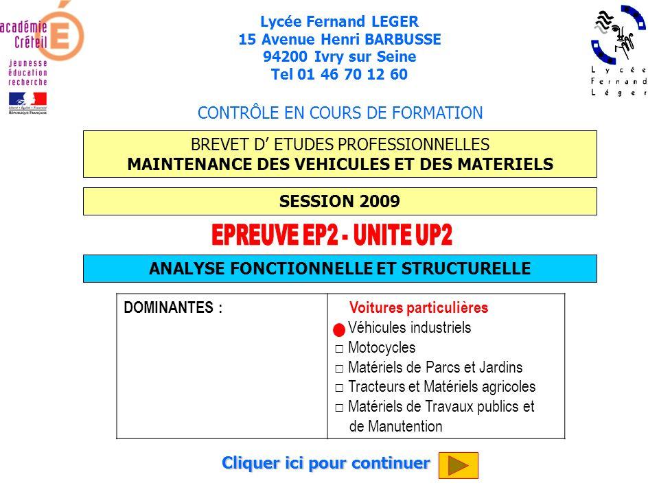 EPREUVE EP2 - UNITE UP2 CONTRÔLE EN COURS DE FORMATION