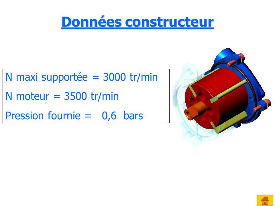 Données constructeur N maxi supportée = 3000 tr/min