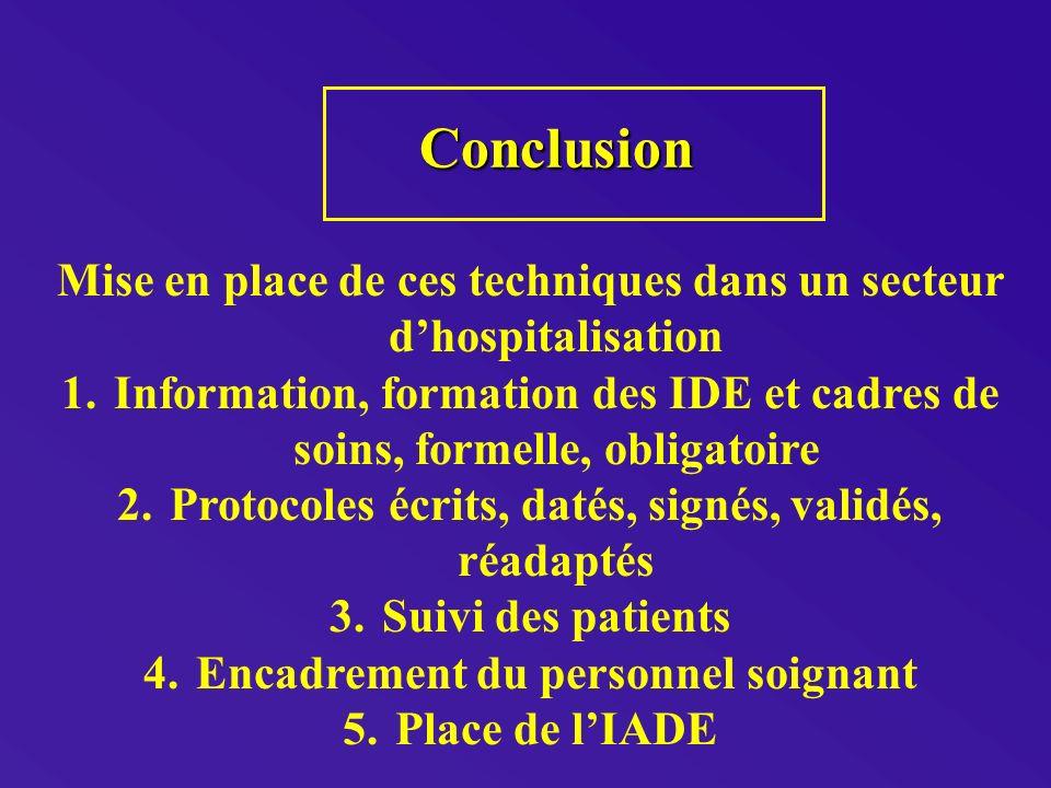 Conclusion Mise en place de ces techniques dans un secteur d'hospitalisation.
