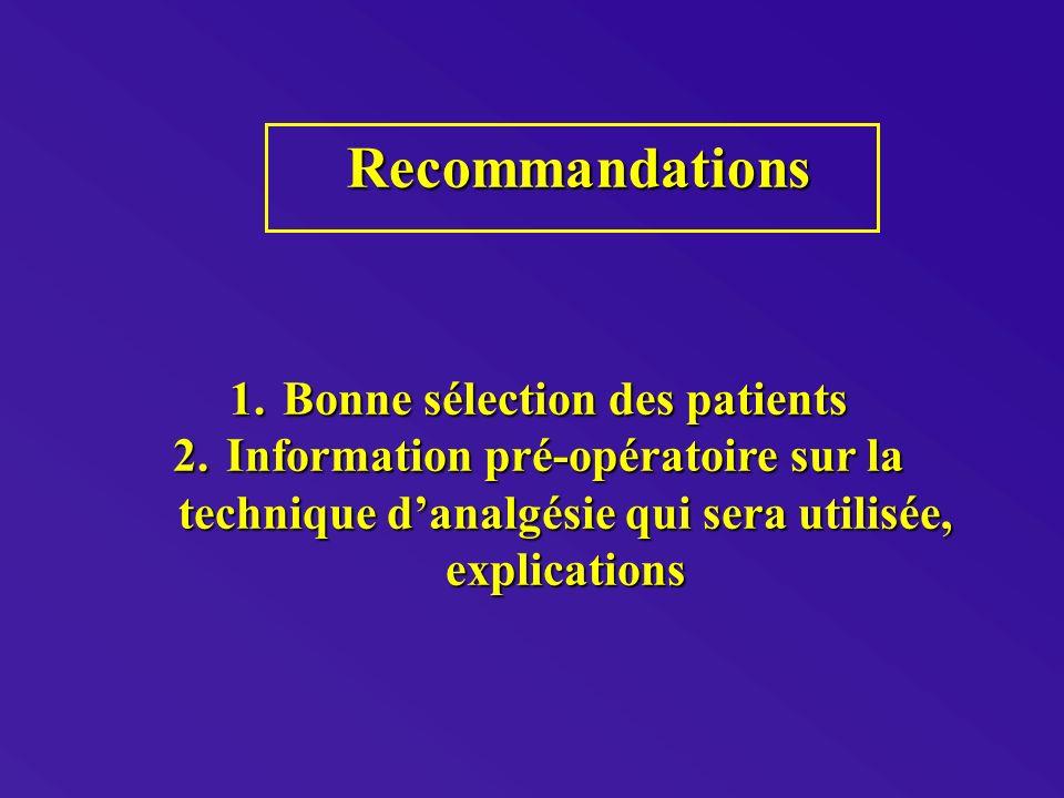 Bonne sélection des patients