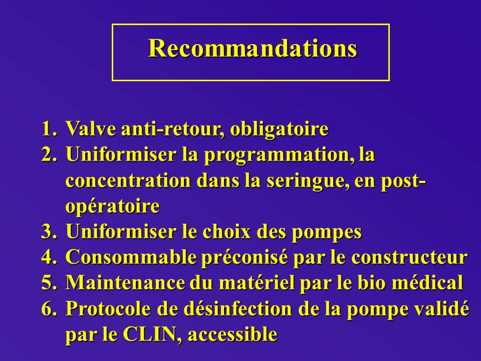 Recommandations Valve anti-retour, obligatoire