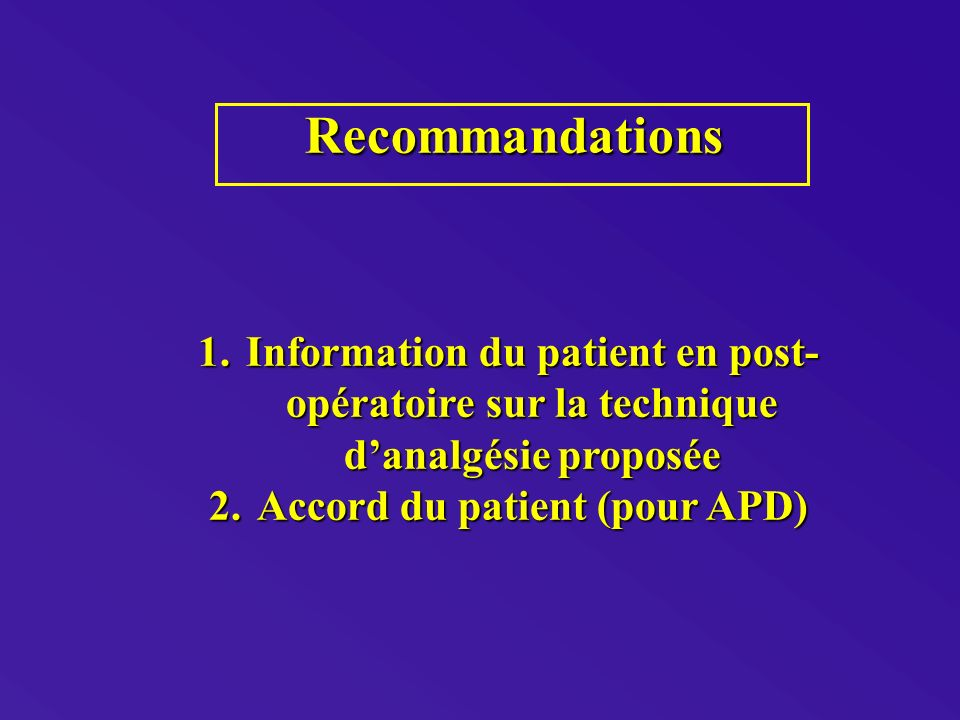 Accord du patient (pour APD)