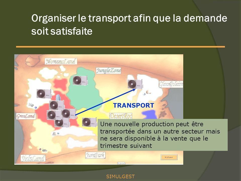 Organiser le transport afin que la demande soit satisfaite