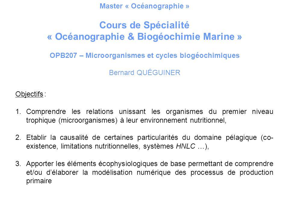 Master « Océanographie » « Océanographie & Biogéochimie Marine »