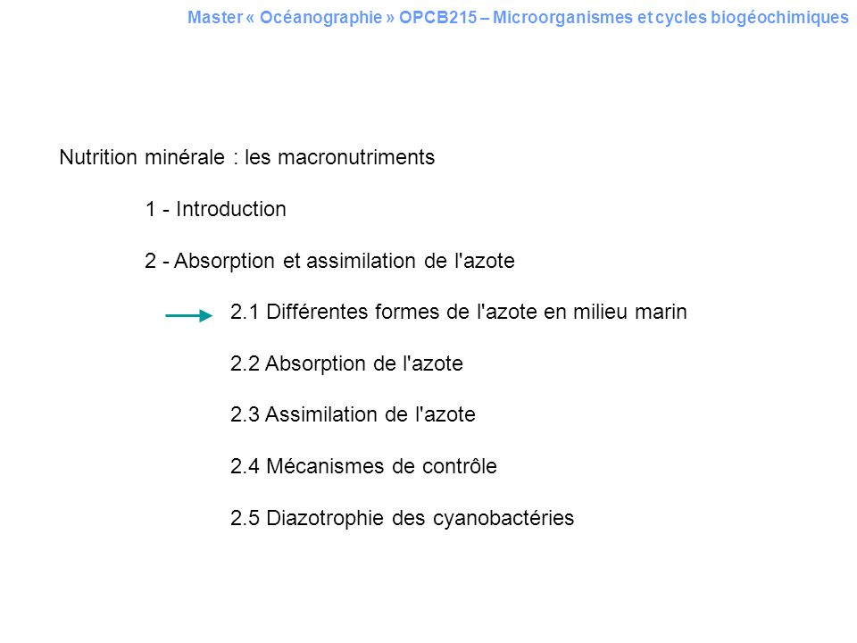 Nutrition minérale : les macronutriments 1 - Introduction