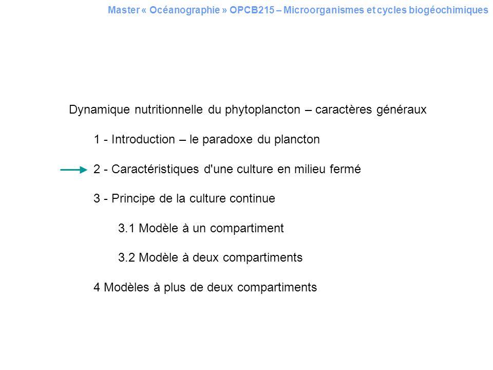 Dynamique nutritionnelle du phytoplancton – caractères généraux