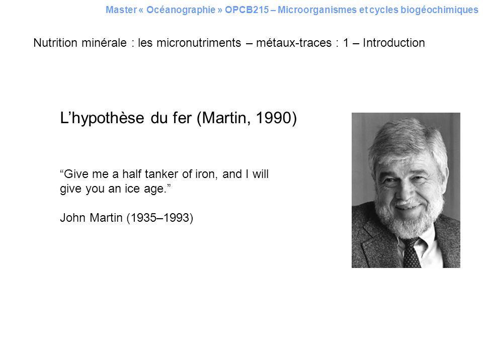 L'hypothèse du fer (Martin, 1990)