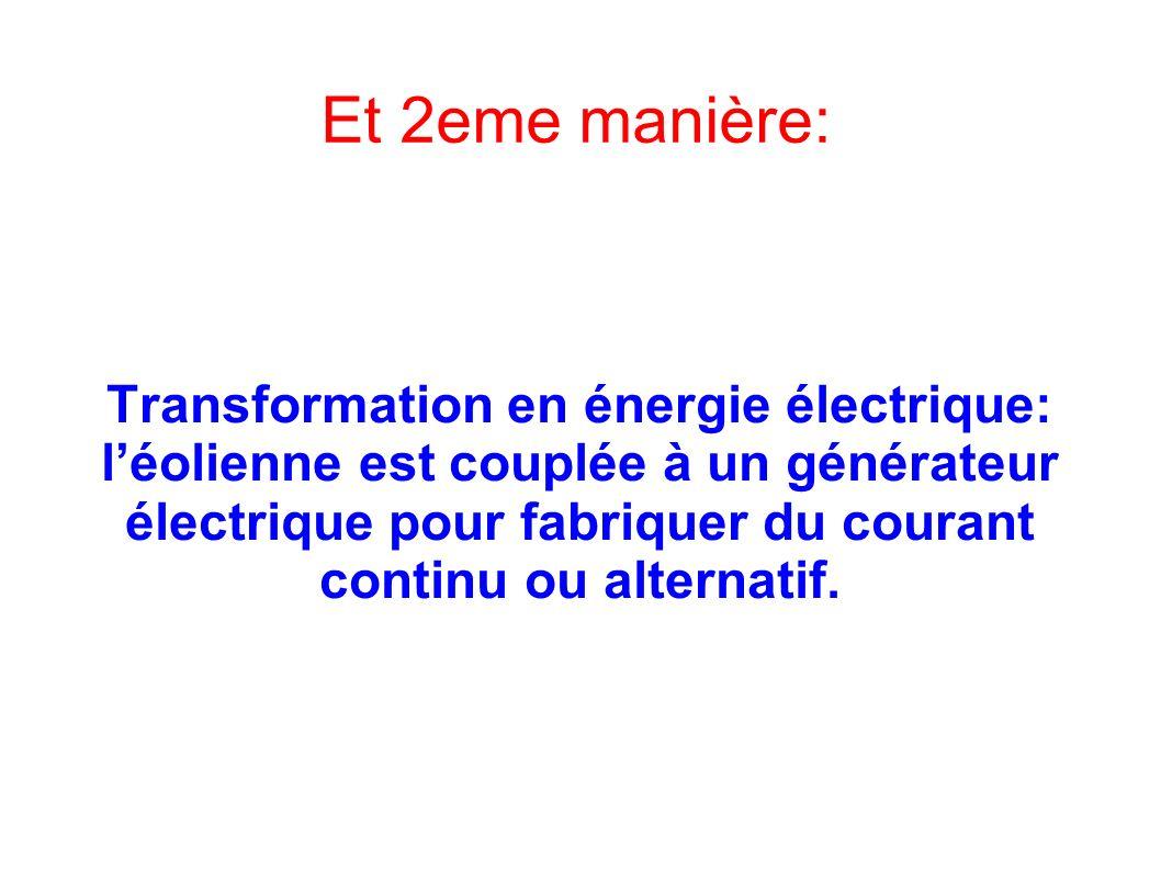 Transformation en énergie électrique: