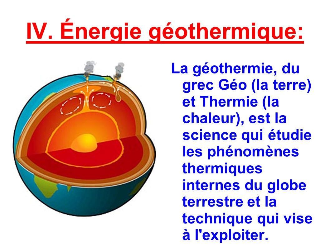 IV. Énergie géothermique: