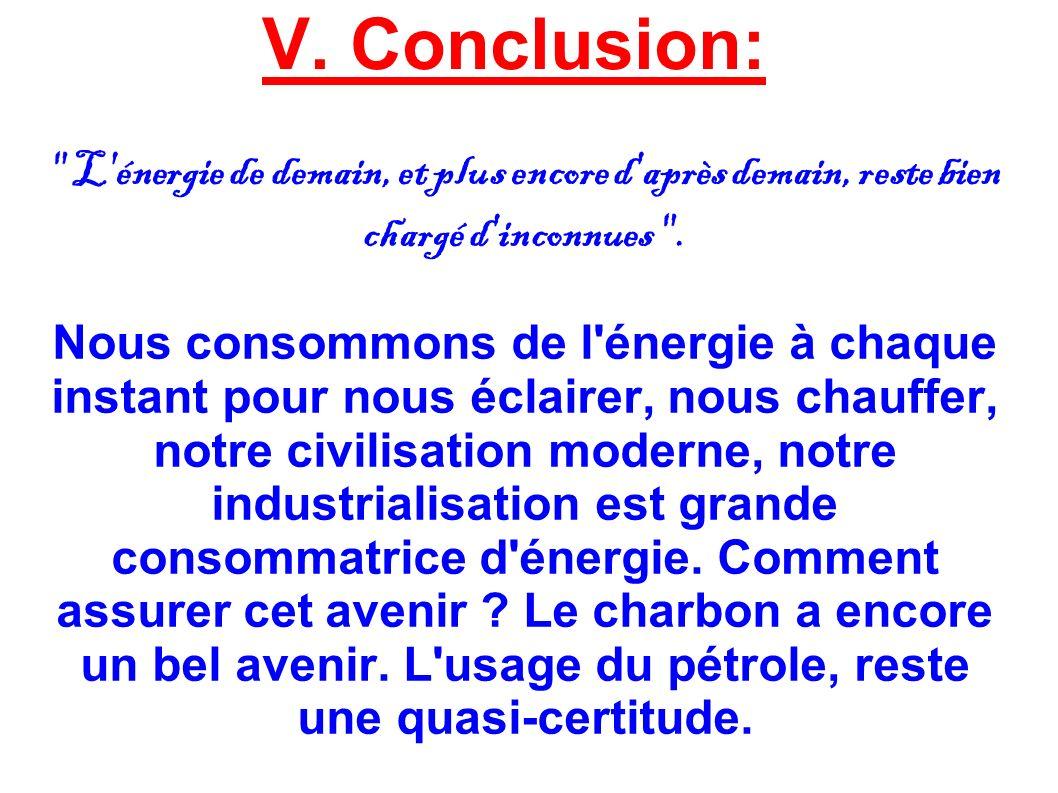 V. Conclusion: L énergie de demain, et plus encore d après demain, reste bien chargé d inconnues .