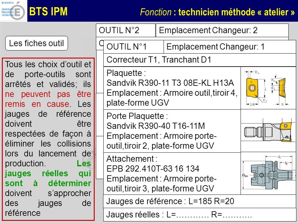 OUTIL N°2Emplacement Changeur: 2. Correcteur T2, Tranchant D1. Les fiches outil. OUTIL N°1. Emplacement Changeur: 1.