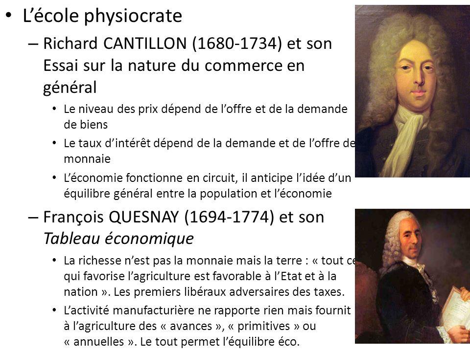 L'école physiocrate Richard CANTILLON (1680-1734) et son Essai sur la nature du commerce en général.