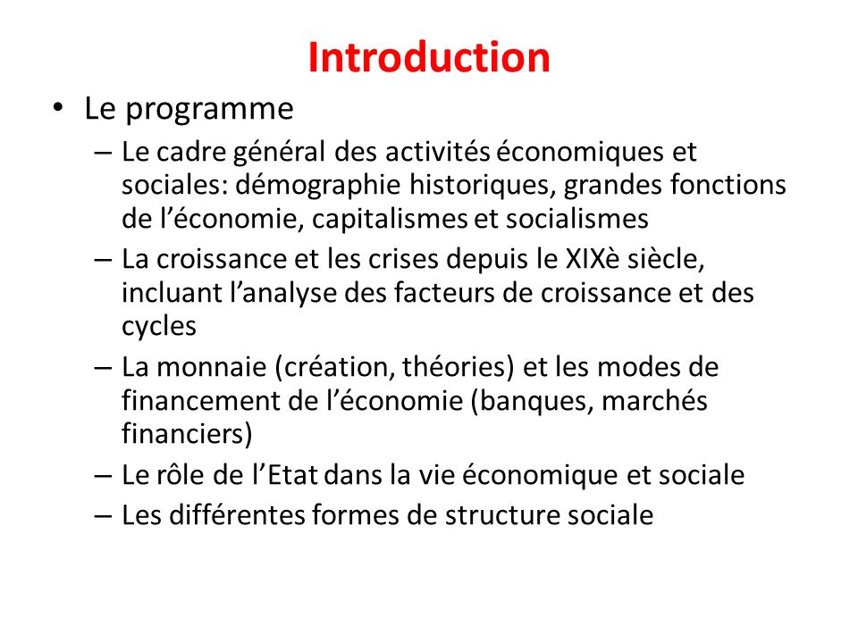 Introduction Le programme