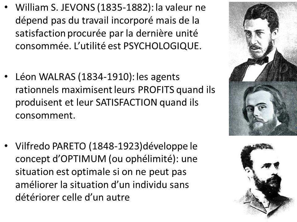 William S. JEVONS (1835-1882): la valeur ne dépend pas du travail incorporé mais de la satisfaction procurée par la dernière unité consommée. L'utilité est PSYCHOLOGIQUE.