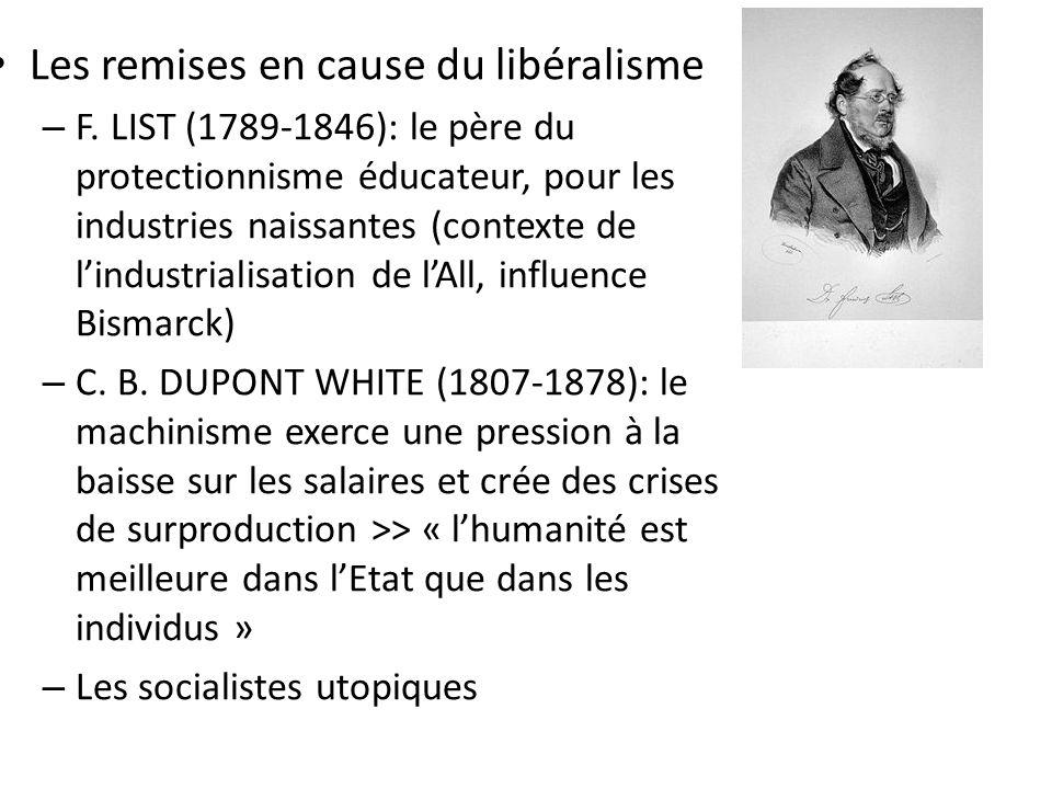 Les remises en cause du libéralisme