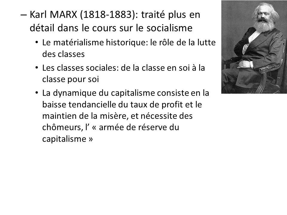 Karl MARX (1818-1883): traité plus en détail dans le cours sur le socialisme