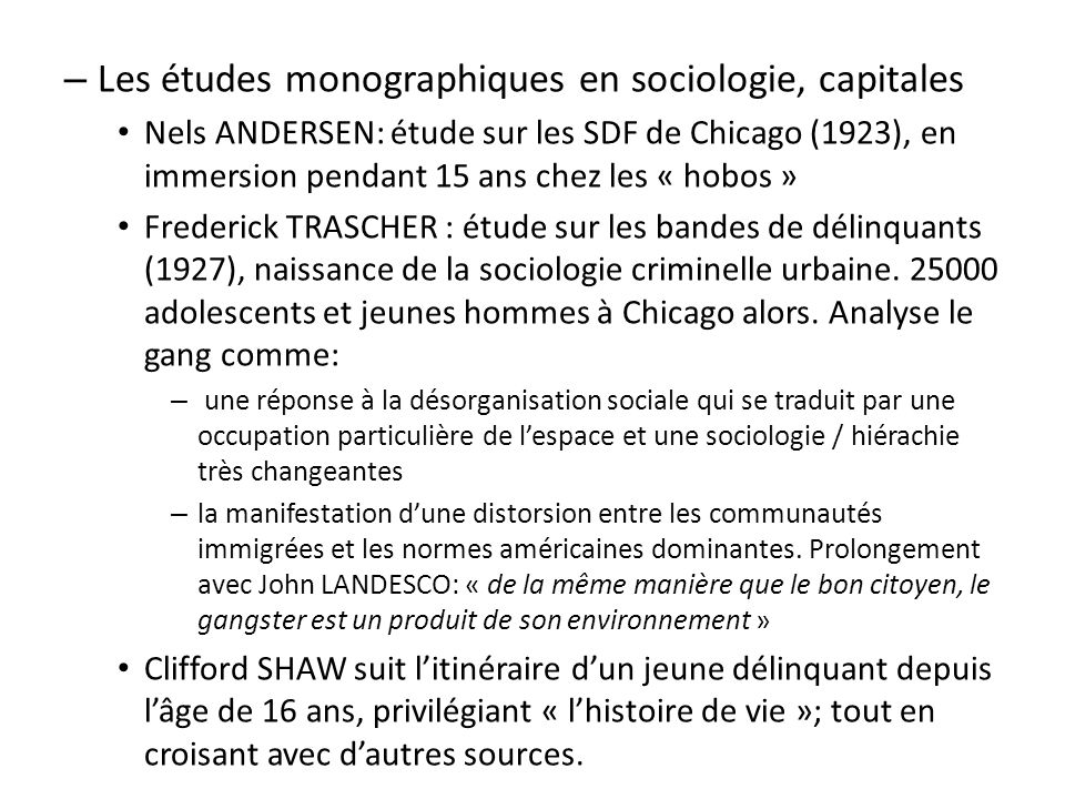 Les études monographiques en sociologie, capitales