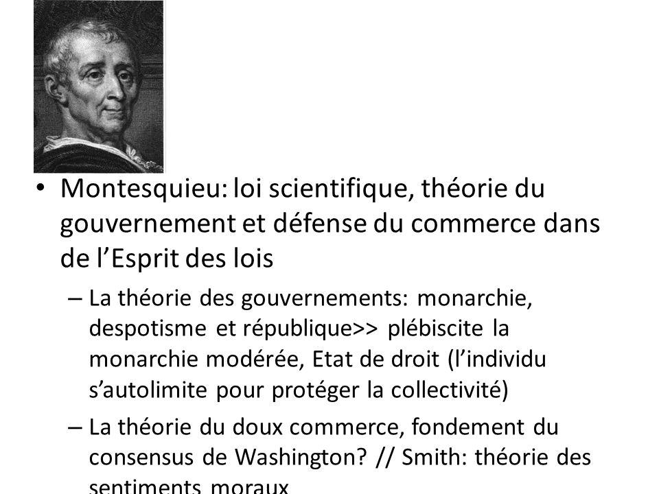 Montesquieu: loi scientifique, théorie du gouvernement et défense du commerce dans de l'Esprit des lois