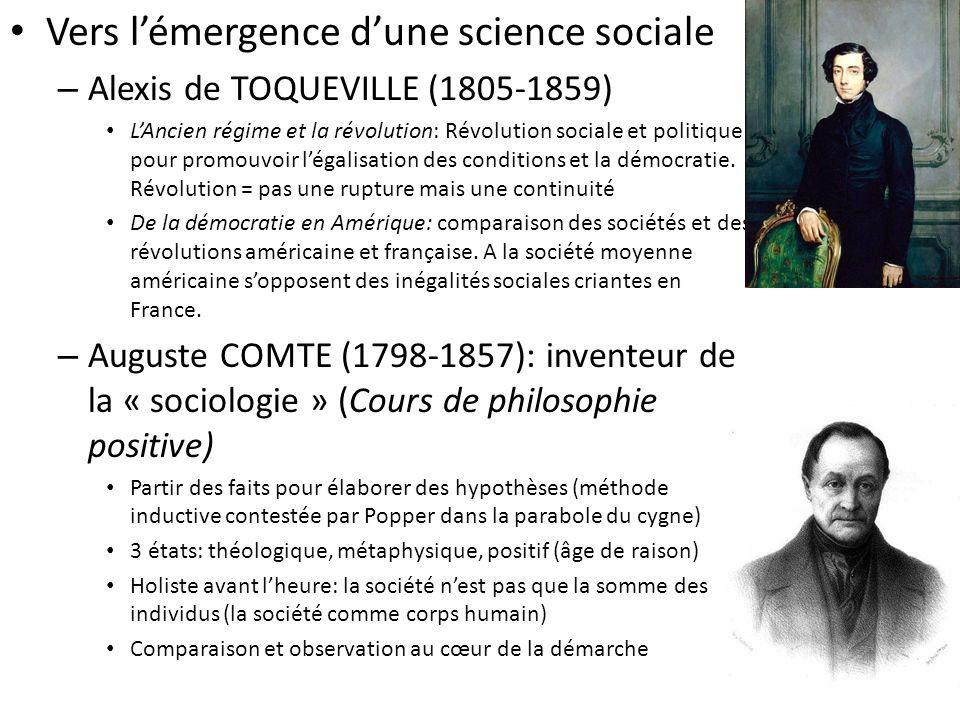 Vers l'émergence d'une science sociale