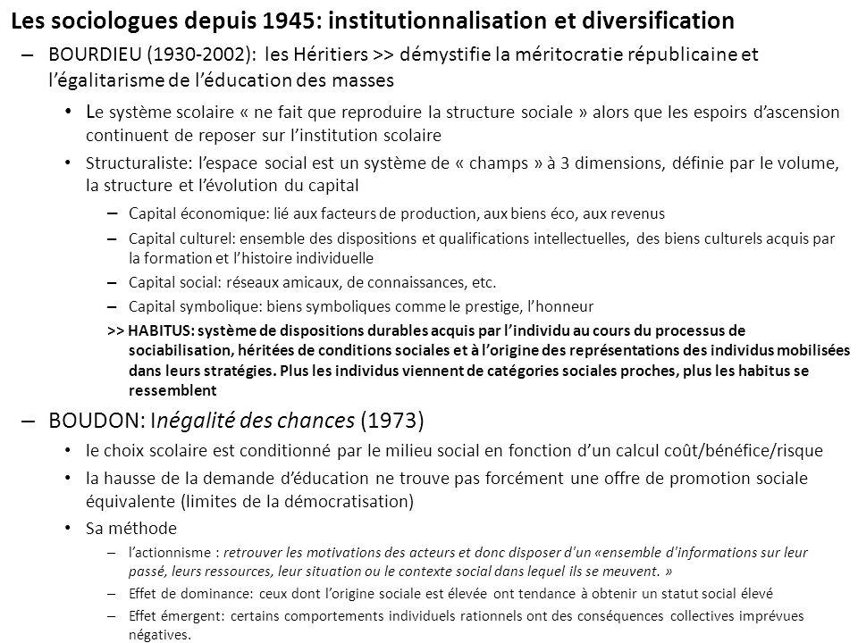 Les sociologues depuis 1945: institutionnalisation et diversification