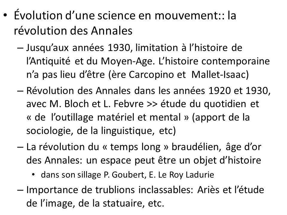 Évolution d'une science en mouvement:: la révolution des Annales