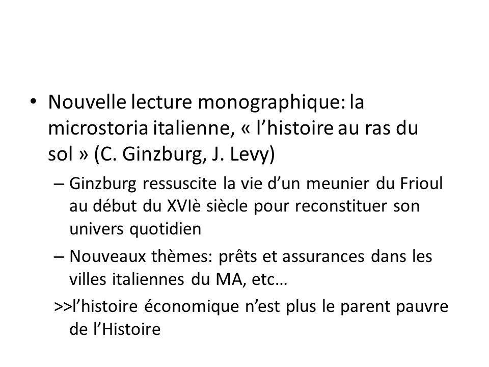 Nouvelle lecture monographique: la microstoria italienne, « l'histoire au ras du sol » (C. Ginzburg, J. Levy)