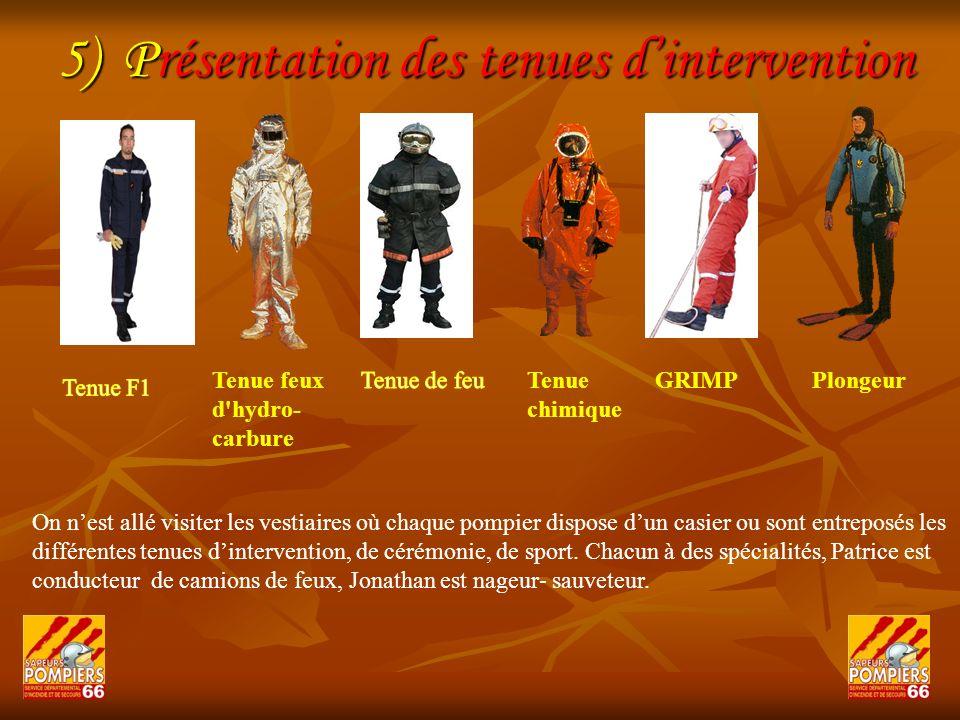 5) Présentation des tenues d'intervention