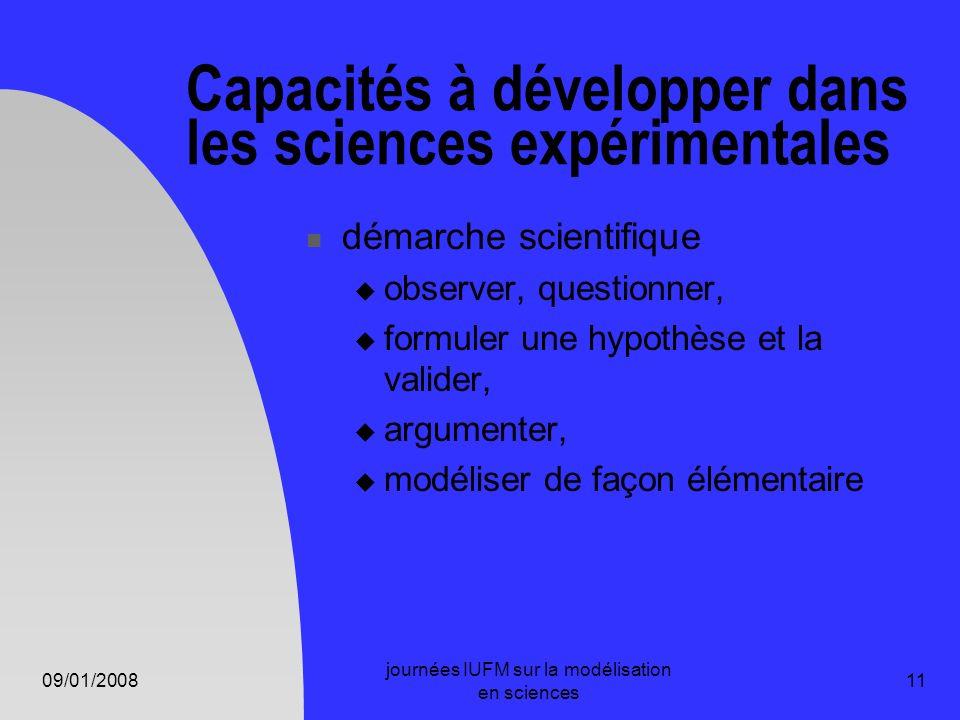 Capacités à développer dans les sciences expérimentales