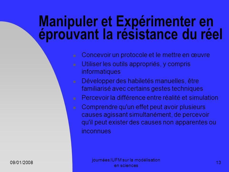 Manipuler et Expérimenter en éprouvant la résistance du réel