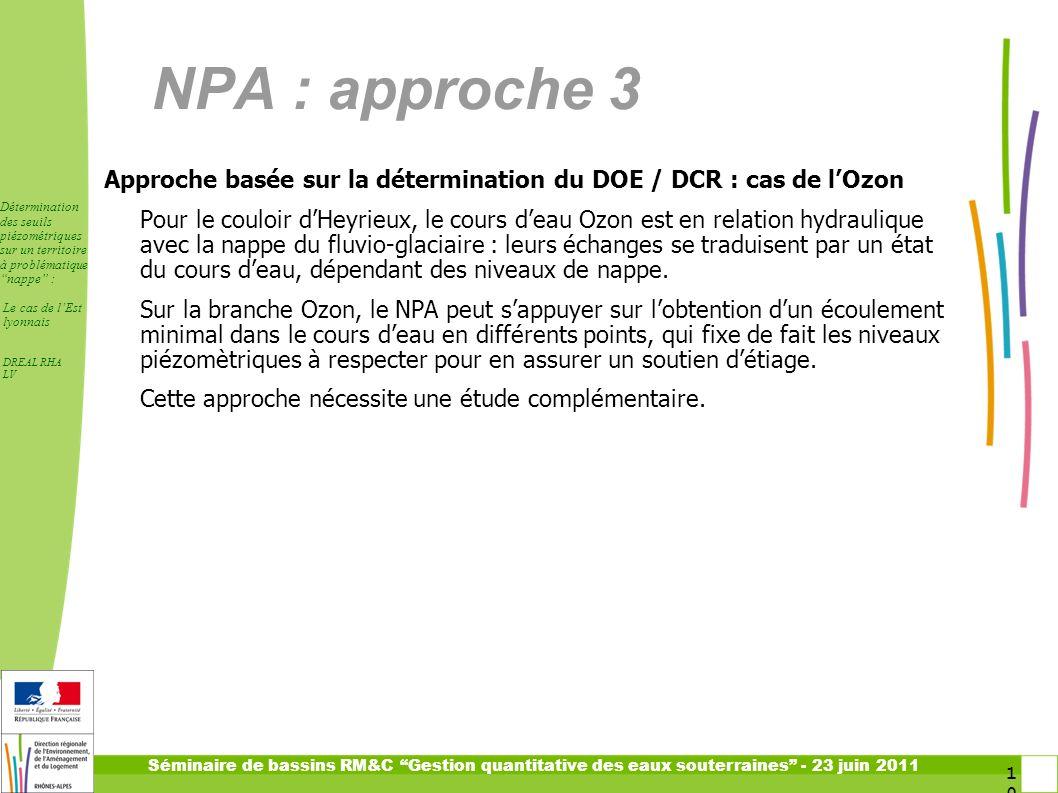 NPA : approche 3 Approche basée sur la détermination du DOE / DCR : cas de l'Ozon.